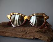 Vintage Amber & Gold Geometric Cutout Sunglasses