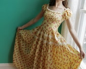 Darling 1940s Yellow Flower Honky Tonk Square Dancing Dress Sz-S