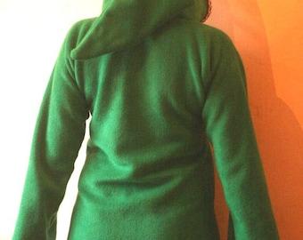 Link hoodie Green Elven tunic for women- Medieval tunic - SCA - Pixie hoodie - Psy hoodie- festival - Halloween - hippie hoodie dress