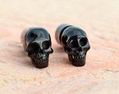 Handmade Skull Black Horn Fake Plugs Earrings Tribal Fake Gauge Earrings - Gauges Plugs Bone Horn - FP003 H G1