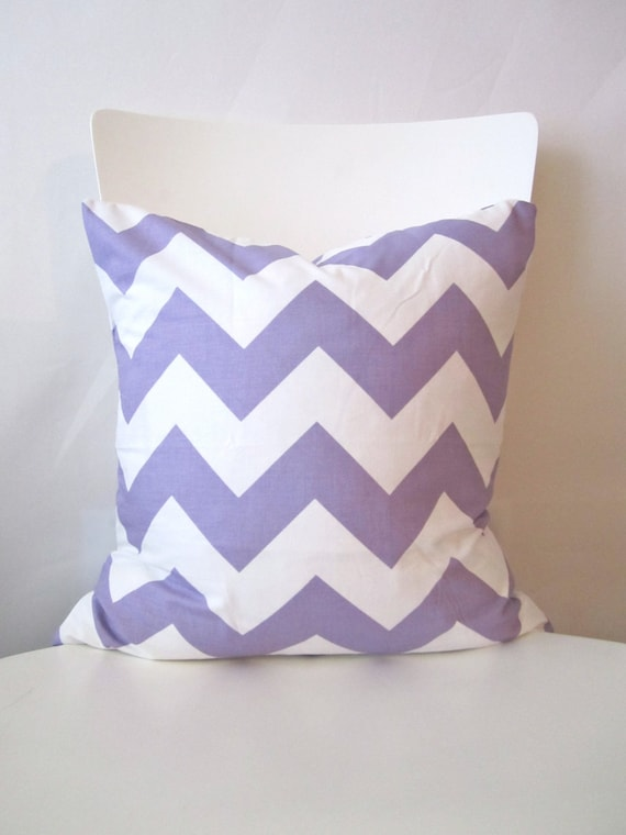 16 inch throw pillow cover, Chevron lavender purple and white. Wide stripe Zigzag pattern, modern print. For indoor use.