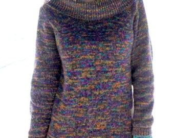 Spice of Life - Vintage 80s Cowl Neck Slouchy Sweater, Long & Colorful, Small