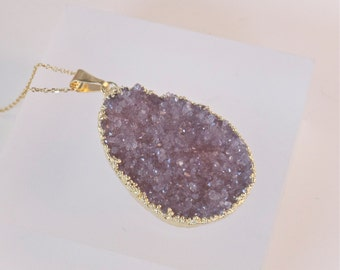 ON SALE-Druzy- Druze-Lt. Amethyst-Raw mineral- Agate- Sparkling-Gold Necklace