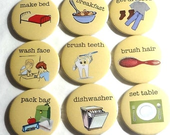My Chores set of 10 fridge magnets