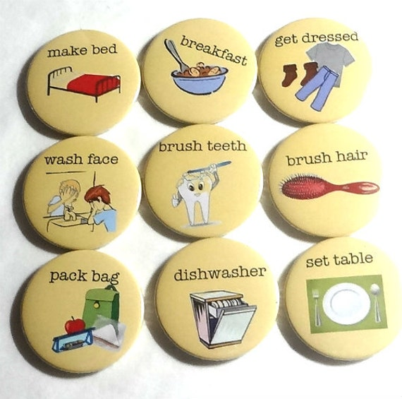 my chores set of 10 fridge magnets by badge bliss catch my party. Black Bedroom Furniture Sets. Home Design Ideas