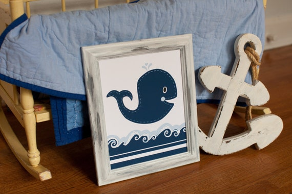 Whale nursery, Nautical room decor, Childrens art print, navy whale print, baby art, nautical bathroom, boys wall art, kids whale bathroom