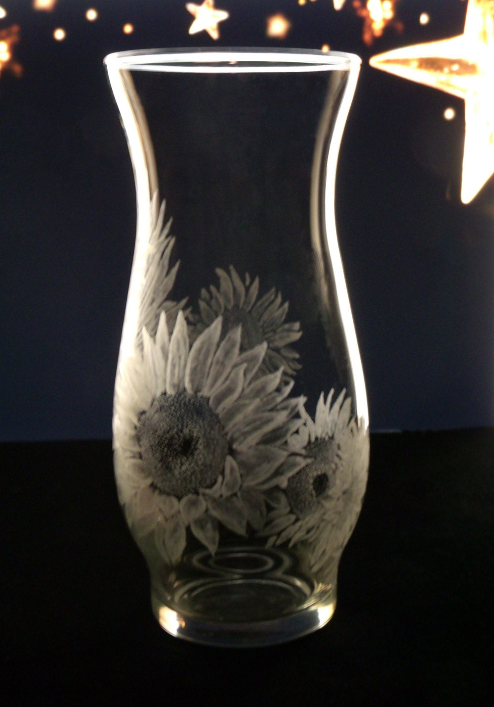 Sunflower Engraved Glass Vase Clear Hand Engraved