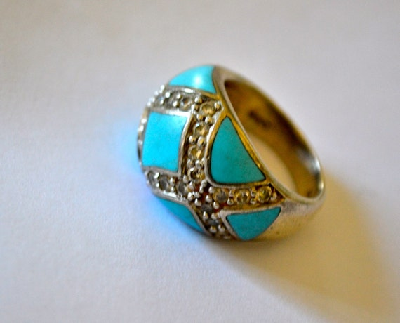 Turquoise Enamel RING Size 6.5, Silver, Clear Rhinestones, Estate Sale, Item No.S014
