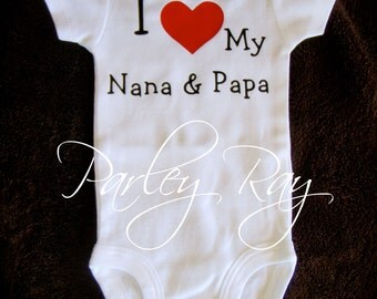 Custom Baby Bodysuit I Love My Pappy/ Grammy Grandpa/ Grandma boy/ girl Nana and Papa / Grandparents
