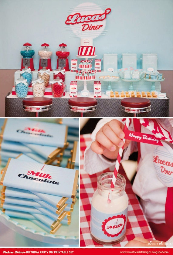 Retro Diner Birthday Party Printable Set By
