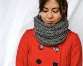 Grey Wool Slouchy Chunky Knit Neck Scarf with Cable Knit Detail