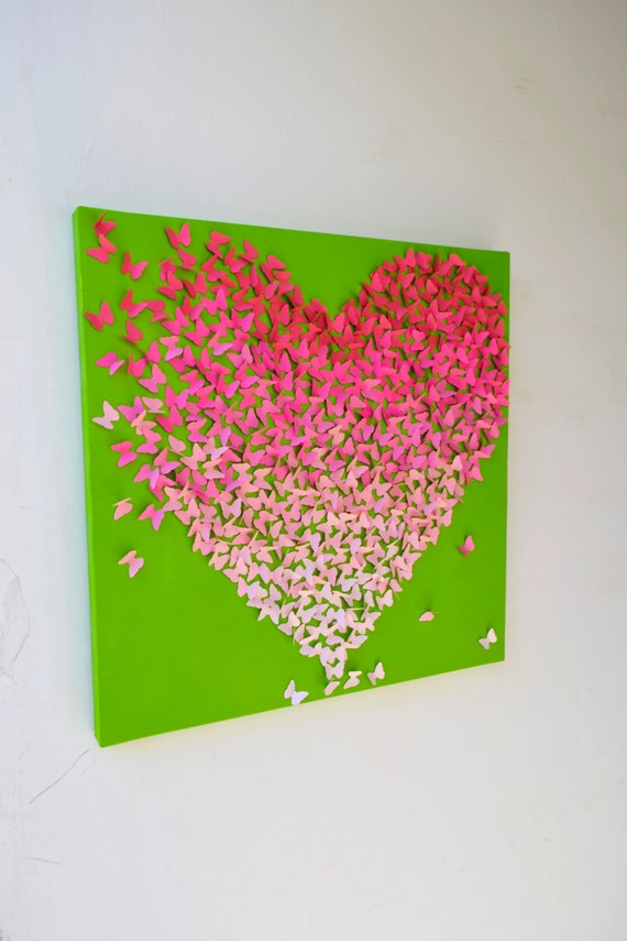 Items Similar To Pink Ombre Butterfly Heart On Lime Green 3d Butterfly Wall Art Nursery Art