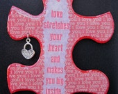 Love Stretches Your Heart - Recycled Puzzle Piece Magnet