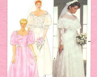 Vintage 1980's Butterick 6393 Wedding Gown, and Bridesmaid's Dress Misses' Size 8 UNCUT