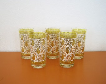 Vintage Georges Briard Paisley High Ball Glasses, Yellow and Gold