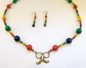 Hipster Rainbow Mustache Necklace and Earring Set