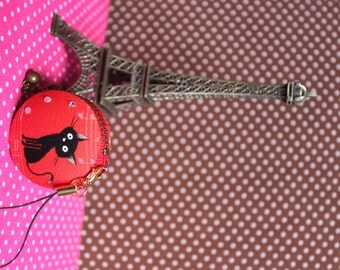 cat macaroon coin/jewellery case RED