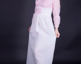 Ring Around The Posy 1960s / 1970s Vintage Rose Pink And White Maxi With Velvet Polka Dot Skirt Union Label Prom Dress Small / Medium