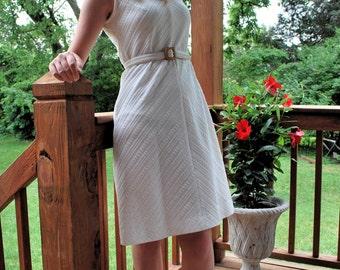 Vanilla My Bean 1960s Vintage Checkaberry Sleeveless Ivory A Line Shift Wiggle Bride Party Dress Sz Small / Medium / 10 / 12