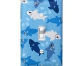 Shark Light Switch Plate Cover / Boys Nursery Bathroom Decor / Blue and White Nautical Under the Sea / Shiver Me Timbers