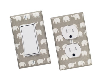 Gray Elephant Light Switch Plate & Outlet Cover SET OF 2 / Gender Nuetral Nursery Decor / Rocker Decora Paddle / Slightly Smitten Kitten