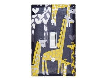 Giraffe Light Switch Plate Cover / Yellow Gray / Children Kids Room / Baby Boy Nursery Decor / Michael Miller