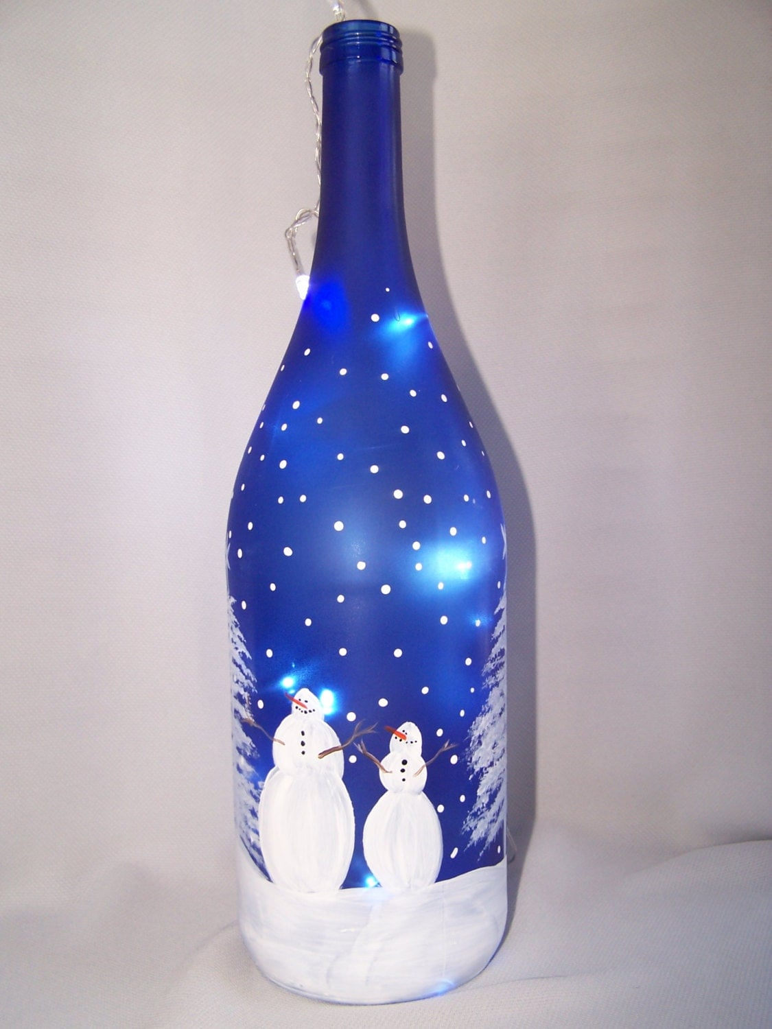 Wine Bottle Light Up Bottle Snowman Family Cobalt Blue