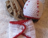 Crochet Baby Baseball Hat and Diaper Cover - Photo Prop - made to order