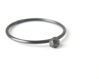 Minimalist black stacking ring. Oxidized silver delicate ring. Gift for her.