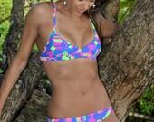 Neon Geometric Cross Back Bikini Top Pink, Purple, Green & Blue by Graffiti Bikini