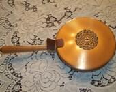 Crumb Catcher, Hinged Lid, Vintage Crumb Catcher Pan, Copper/Brass Crumb Catcher Pan, Wood Handled Crumb Catcher