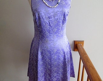 Vintage Jessica McClintock Light Purple Embroidered Mini Dress