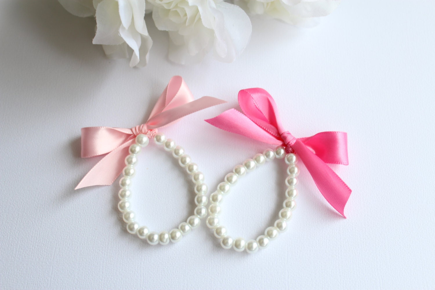 TWO Bracelets 2 Flower Girl Gifts Pearls and Ribbon Jr
