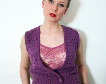 Vintage 70s Preppy Purple Sleeveless Double Breasted Knit Vest
