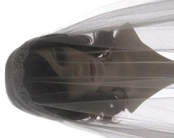 1920s style wedding  veil -  couture bridal cap veil - cap veil with blusher-- Exquisite