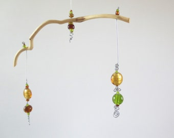 Mobile, Kinetic Art, Hanging Sculpture, Mountain Laural Branch and Bead Mobile, Unique Art, Sun Catcher