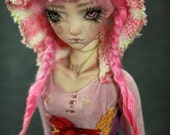 """One of a Kind BJD Porcelain doll by Forgotten Hearts 14""""  Pink Seed Pod"""