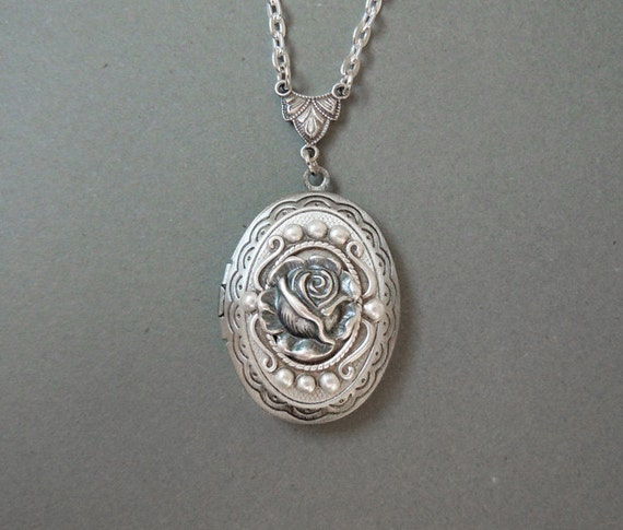 Winter Rose-- Antique Locket