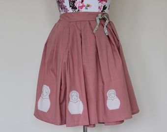 CLEAR OUT !!! Handmade high-waisted pink skirt with appliqué Russian dolls, bow and button UK size 12-14 waist 31""