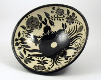 Handmade Stoneware BOWL - BUNNIES in Lush Landscape - SGRAFFITO Carved Rabbits  - Personalize Color - Mexican Inspired Folk Art