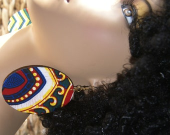 Fabric Covered Wood Earrings- Royal Festival