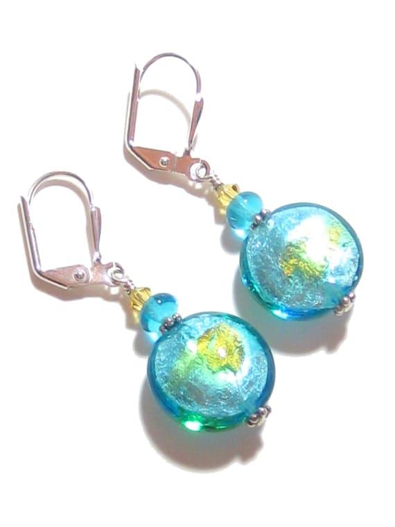Murano Glass Aqua Disc Silver Dangle Earrings, Venetian Jewelry, Leverback Earrings, Clip On Earrings