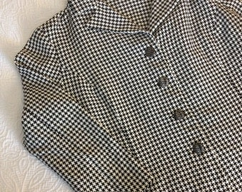 1940s Black and White Houndstooth Suit Jacket size large