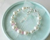 Baby Christening Gifts, Baby Shower Gift, Bracelet for Baptism or Communion  Flower Girls Bracelet  Pearl Bracelet Sterling Silver Bracelet