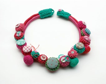 Fiber necklace in coral and mint Crochet and textile jewelry, OOAK