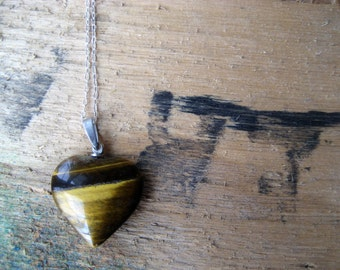 70s Tigerseye gemstone Heart Pendant Necklace sterling silver chain Jewelry / Heart of Stone Collection / Natural tiger's eye Amber Brown