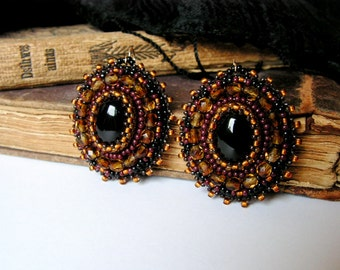 Black Brown Earrings Black Onyx Cabochons Earrings Beadwork Earrings Bead Embroidery Jewelry Statement Earrings Gift for her