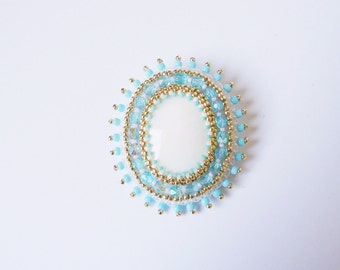 White Blue Brooch Embroidery Brooch Bead embroidered Brooch Beadwork Brooch White Blue Gold MADE TO ORDER