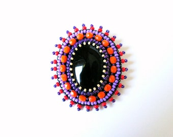 Black Orange Purple Brooch Embroidery Brooch Bead embroidered Brooch Beadwork Brooch Black Onyx Brooch MADE TO ORDER