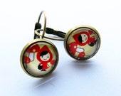 Roodkapje oorbellen brons 12mm - 130105